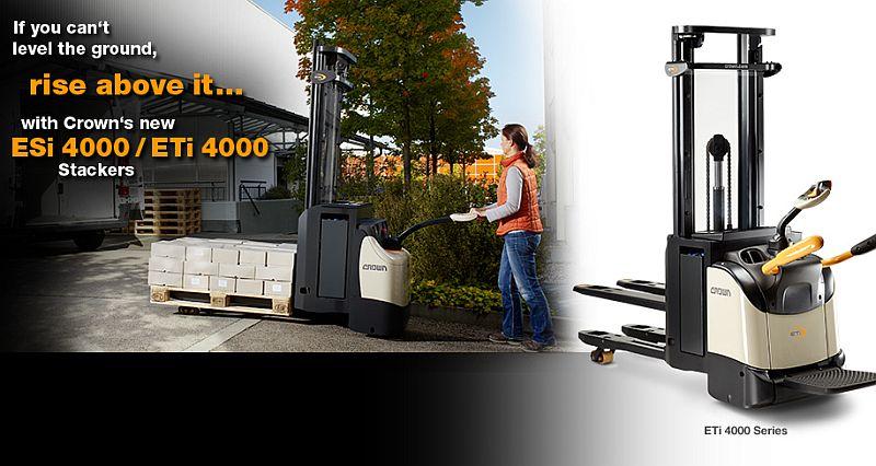 מלגזות קראון ESi 4000/ETi 4000 החדשות מאפשרות הובלת מטען גם על מצע שאינו חלק ומיושר (מתוך קטלוג לשוק הבריטי)