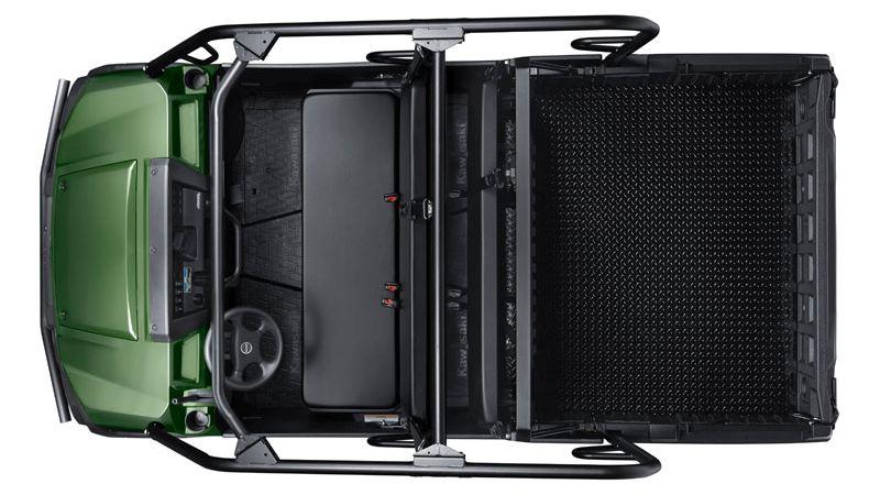 קוואסאקי מיול Pro-FXT החדש מתיימר להיות בראש ובראשונה רכב עבודה קשוח ויעיל, עם מקום לעד 6 נוסעים או 3 נוסעים וארגז מוגדל על חשבון הספסל האחורי