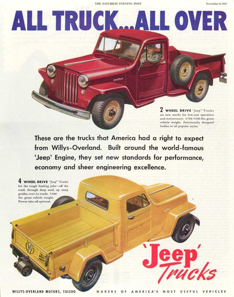 מודעת פרסומת לטנדר Willys-Overland מ-1947