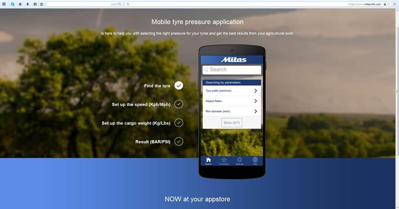 אפליקציה ללחץ האוויר המתאים בצמיג הטרקטור
